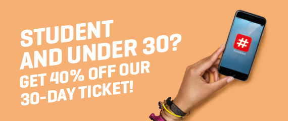 Student and under 30? Get 40% off our 30-day ticket!
